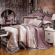 cheap High Quality Duvet Covers-Brown Queen King Size Bedding Set Luxury Silk Cotton Blend Lace Duvet Cover Sets Jacquard Pattern