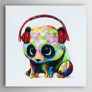 יד ציור שמן צבוע פנדה חיה עם אוזניות עם arts® קיר מסגרת 7 נמתח