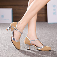 baratos Sapatilhas de Dança-Mulheres Sapatos de Dança Latina Glitter / Sintético / Veludo Sandália / Salto Lantejoulas / Apliques / Gliter com Brilho Salto Cubano Não Personalizável Sapatos de Dança Prateado / Azul / Dourado