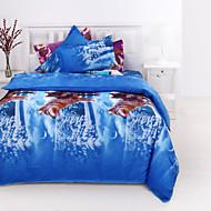 Bettbezug-Sets 3D (Zufallsmuster) 4 Stück Reaktivdruck 4-teilig (1 Bettbezug, 1 Bettlaken, 2 Kissenbezüge)