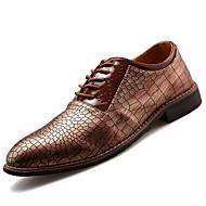 お買い得  メンズオックスフォードシューズ-男性用 靴 レザーレット 春 秋 コンフォートシューズ オックスフォードシューズ ジッパー のために カジュアル オフィス&キャリア パーティー ブラック グレー Brown