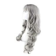 פאות סינתטיות בגדי ריקוד נשים Body Wave אפור עם פוני שיער סינטטי אפור פאה אפור