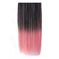 26 Inch Clip in Synthetic Black Pink Straight Hair Extensions with 5 Clips