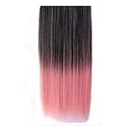 26 קליפ אינץ 'תוספות שיער ישרות ורודות שחורות סינטטיות עם 5 קליפים