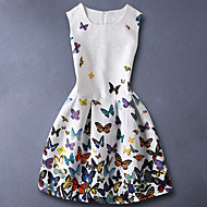 cheap -Kids Girls' Basic / Sweet Daily Butterfly Floral Print Sleeveless Cotton Dress White
