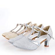billige Kustomiserte dansesko-Dame Sko til latindans Silke Høye hæler Spenne Kubansk hæl Kan spesialtilpasses Dansesko Sølv / Gylden / Innendørs / Ytelse