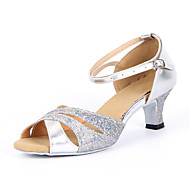 "cheap Latin Shoes-Women's Latin Ballroom Sparkling Glitter Sandal Buckle Chunky Heel Silver Blue Gold 2"" - 2 3/4"" Non Customizable"