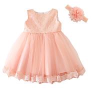 Baby Pige Rosette / Pænt tøj Fest Ensfarvet Kortærmet Polyester Kjole Lys pink 80