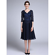 Sheath / Column V Neck Knee Length Chiffon / Sheer Lace Mother of the Bride Dress with Lace by LAN TING BRIDE®