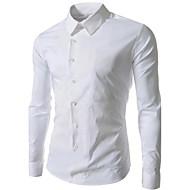 Masculino Camisa Casual Cor Solida Manga Comprida Misto de Algodão Azul / Branco