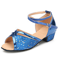 cheap Latin Shoes-Children's Latin Modern Sparkling Glitter Paillette Heel Indoor Practice Sequin Sparkling Glitter Flat Heel Dark Blue Customizable