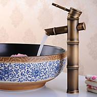 お買い得  浴室洗面ボウル用蛇口-アンティーク センターセット 組み合わせ式 セラミックバルブ 一つ シングルハンドルつの穴 アンティークブロンズ, バスルームのシンクの蛇口