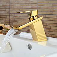 Modern Ti-PVD Finish Waterfall Bathroom Sink Faucet (Short)- Gold