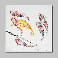 billiga Djurporträttmålningar-handmålade fisk oljemålning på duk modern abstrakt väggkonst bild med sträckt ram redo att hänga