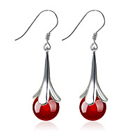 cheap Earrings-Women's Flower Sterling Silver / Silver Drop Earrings - Fashion Black / Red Circle Earrings For Wedding / Party / Daily