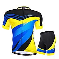 Nuckily Cykeltrøje og shorts Herre Kort Ærme Cykel Trøje Shorts Tøjsæt Ultraviolet Resistent Åndbart Refleksbånd Tilbage til lomme