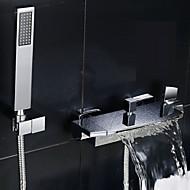 Современный Ванна и душ Водопад Широкий Spary with  Керамический клапан Две ручки двумя отверстиями for  Хром , Смеситель для душа