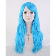 الاصطناعية الباروكات مموج أسلوب دون غطاء شعر مستعار أزرق شعر مستعار صناعي نسائي شعر مستعار طويل هالوين الباروكة