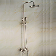 Antique Centerset Waterfall Rain Shower Handshower Included Pullout Spray Rotatable Ceramic Valve Single Handle Two Holes Nickel Brushed