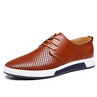 Недорогие -Для мужчин Туфли на шнуровке Удобная обувь Кожа Лето Повседневные Для прогулок Удобная обувь Шнуровка На плоской подошвеЧерный Коричневый