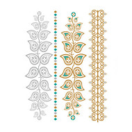billiga Temporära tatueringar-1pcs Ogiftig Vattentät Bröllop Metallisk Blomserier Tatueringsklistermärken