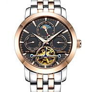Carnival Heren Skeleton horloge mechanische horloges Automatisch opwindmechanisme Roestvrij staal Wit 30 m Hol Gegraveerd s Nachts oplichtend Maanfase Analoog Informeel - Zwart