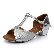 Pentru femei Pantofi Dans Latin Sclipici Spumant / Satin Sandale Cataramă Toc Personalizat Personalizabili Pantofi de dans Rosu / / Piele