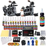 cheap Starter Tattoo Kits-Solong Tattoo Complete Tattoo Kit 2 Pro Machine s 28 Inks Power Supply Needle Grips
