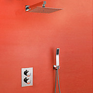 Contemporary Shower System Thermostatic Ceramic Valve One Hole Two Handles One Hole Chrome , Shower Faucet