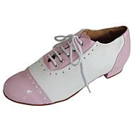 cheap Modern Shoes-Women's Swing Shoes Leather / Patent Leather / Leatherette Heel Indoor / Performance Lace-up Low Heel Customizable Dance Shoes Black /