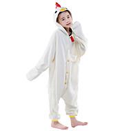 Kigurumi-pyjamas Høne Onesie-pyjamas Kostume Polarfleece Hvid Cosplay Til Barn Nattøj Med Dyr Tegneserie Halloween Festival / Højtider