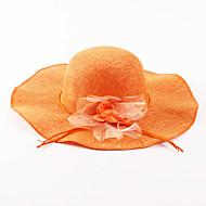 Γυναικεία Μονόχρωμο Γιορτή Λινό Άχυρο Καπέλο ηλίου Άνοιξη Καλοκαίρι Πορτοκαλί