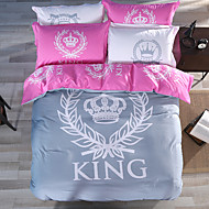 Royal Series Bedlinen 100% Cotton Bedding Sets Twin Queen King Size Gray and Pink Color