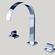お買い得  クローム Series-バスルームのシンクの蛇口 - 滝状吐水タイプ クロム 組み合わせ式 三つ / 二つのハンドル三穴