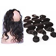 人毛 ブラジリアンヘア 閉鎖が付いている毛横糸 ウェーブ 前後なし ヘアエクステンション 4個 ナチュラルカラー