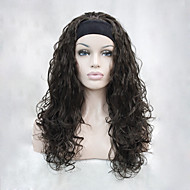 New fashion 3/4 wig with headband Chestnut brown wavy long synthetic women's half wigs