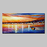 Hand Painted Abstract Landscape Boat Oil Painting On Canvas Wall Art With Stretched Frame Ready To Hang