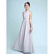cheap -Sheath / Column Bateau Neck Floor Length Chiffon / Lace Junior Bridesmaid Dress with Lace by LAN TING BRIDE® / Natural