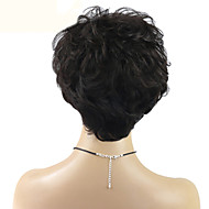 女性 人間の毛のキャップレスウィッグ ジェットブラック ブラック ダークブラウン ミディアムブラウン ナチュラルカラー ショート丈 ストレート ピクシーカット レイヤード・ヘアカット バング付き サイドパート