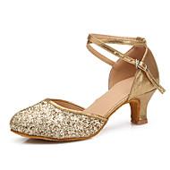 billige Moderne sko-Kan spesialtilpasses-Dame-Dansesko-Latinamerikansk / Moderne-Paljetter-Stiletthæl-Svart / Gull
