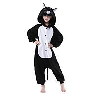 สำหรับเด็ก Kigurumi Pajama แมว Onesie Pajama Polar Fleece ดำ / ขาว คอสเพลย์ สำหรับ เด็กชายและเด็กหญิง สัตว์ชุดนอน การ์ตูน Festival / Holiday เครื่องแต่งกาย