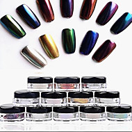 cheap Nail Art-12pcs 2g/Box Nail Glitter Powder Shinning Mirror Eye Shadow Makeup Powder Dust Nail Art DIY Chrome Pigment Glitter