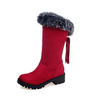 Women's Boots Spring Fall Winter Comfort Fur Fleece Office & Career Casual Athletic Chunky Heel Tassel Black Brown Red Hiking