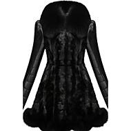 Mulheres Casaco de Pelo Casual / Festa/Coquetel / Tamanhos Grandes Sensual / Simples Outono / Inverno,Sólido / Color Block Preto Acrílico