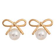 欧風 ファッション 真珠 ゴールドメッキ 合金 リボン ゴールド ジュエリー のために 日常 カジュアル スポーツ 1ペア