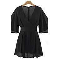 Žene Veći konfekcijski brojevi Flare rukav Odjeća za igru - Drapirano, Jednobojni V izrez
