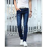 Masculino Simples Cintura Média Micro-Elástica Jeans Calças,Sólido Algodão Todas as Estações