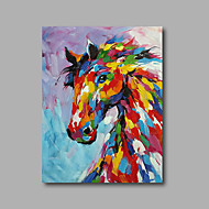 """Stretched (Ready to hang) Hand-Painted Oil Painting 36""""x24"""" Canvas Wall Art Modern Abstract Pop Art Horses"""