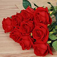 tanie -1 1 Gałąź Poliester Roses Bukiety na stół Sztuczne Kwiaty 51cm