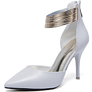 お買い得  レディースハイヒール-女性用 靴 化繊 春 夏 ヒール スティレットヒール チェーン のために カジュアル パーティー ホワイト ブラック